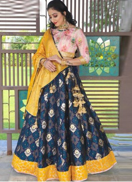 Charming Blue Color Festive Wear Designer Lehenga Choli