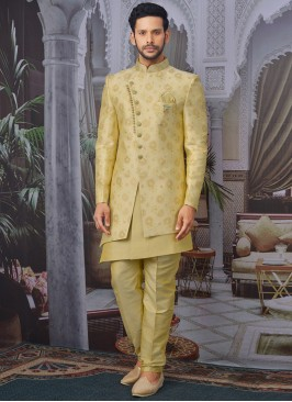 Charming Gold Color Men Indo Western For Wedding