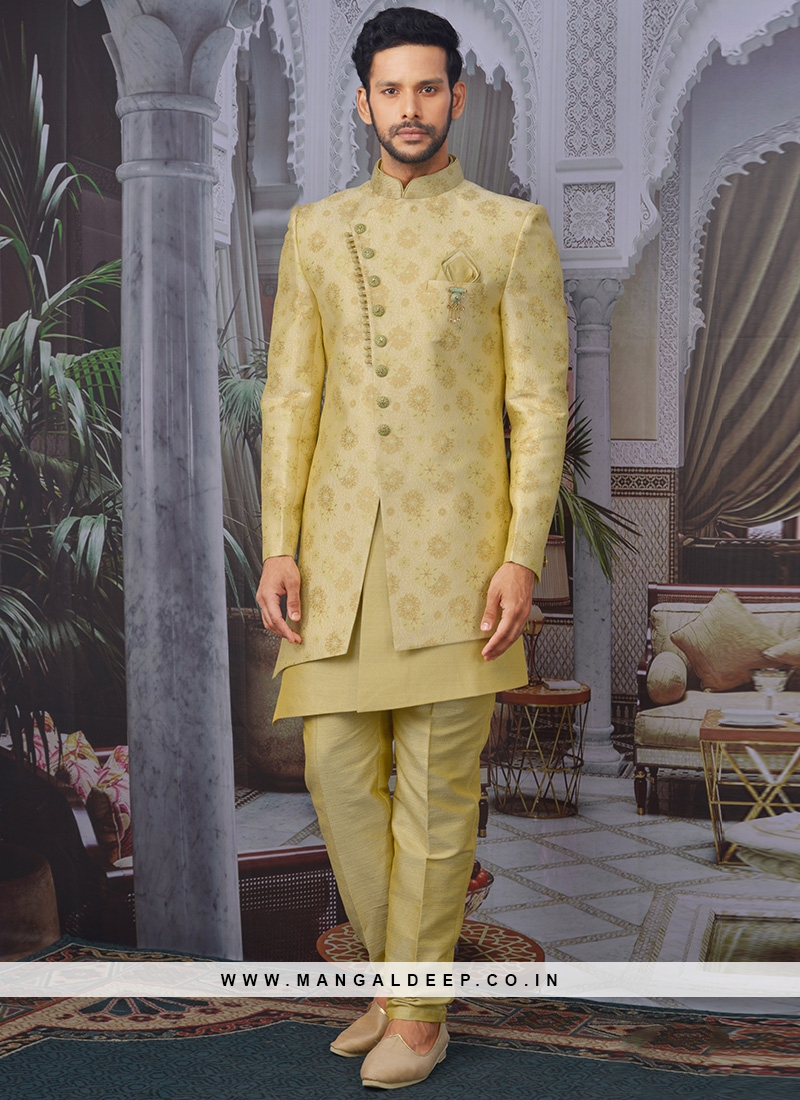 Charming Gold Color Men Indo Western For Wedding
