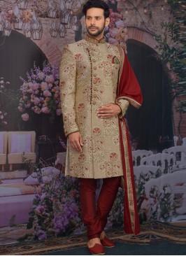 Charming Gold Color Men Sherwani For Wedding