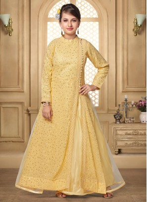 Charming Gold Color Party Wear Salwar Suit For Kids