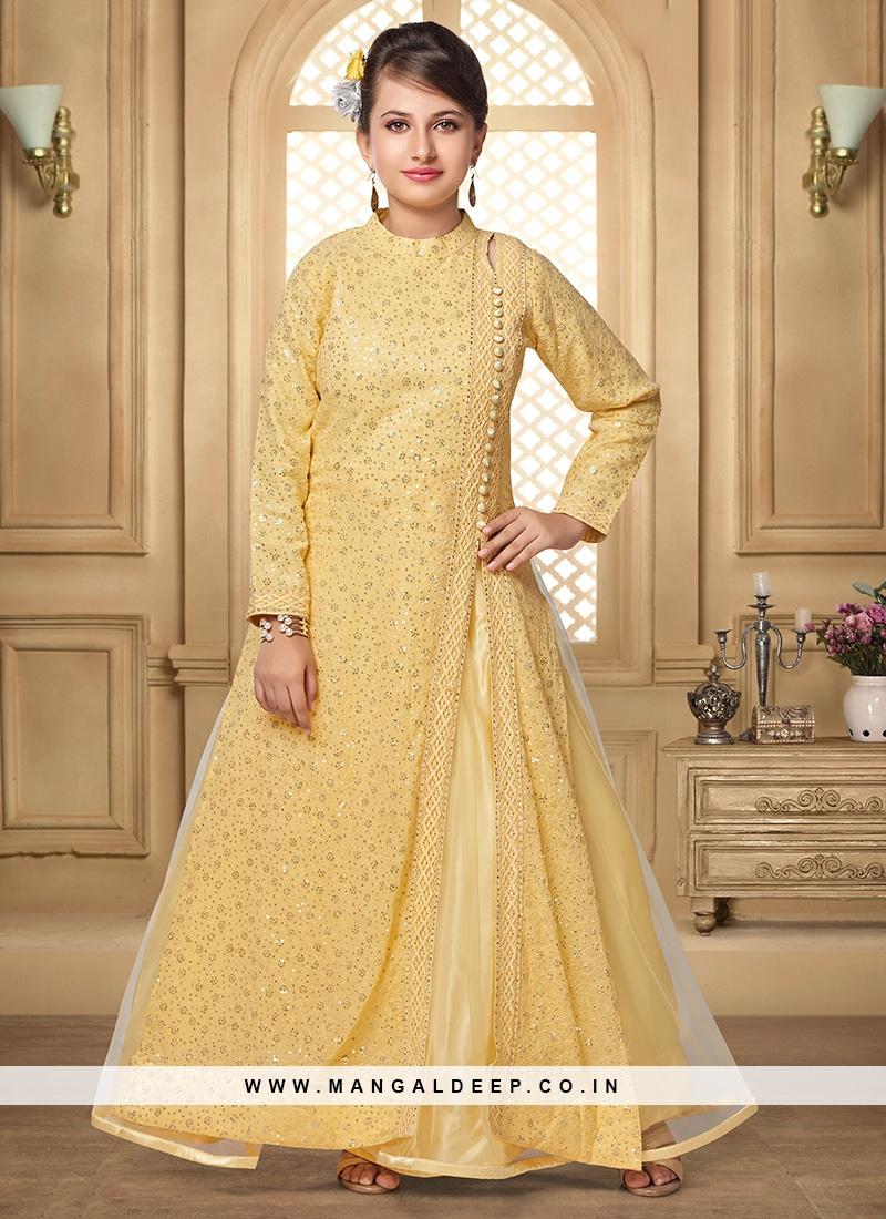 Charming Gold Color Party Wear Salwar Suit For Kids