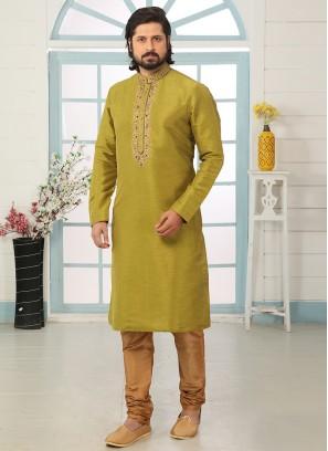 Charming Green Color Festive Wear Art Silk Kurta Pajama