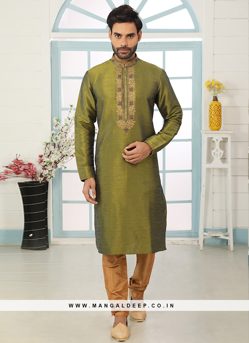 Charming Green Color Festive Wear Art Silk Kurta Pajama