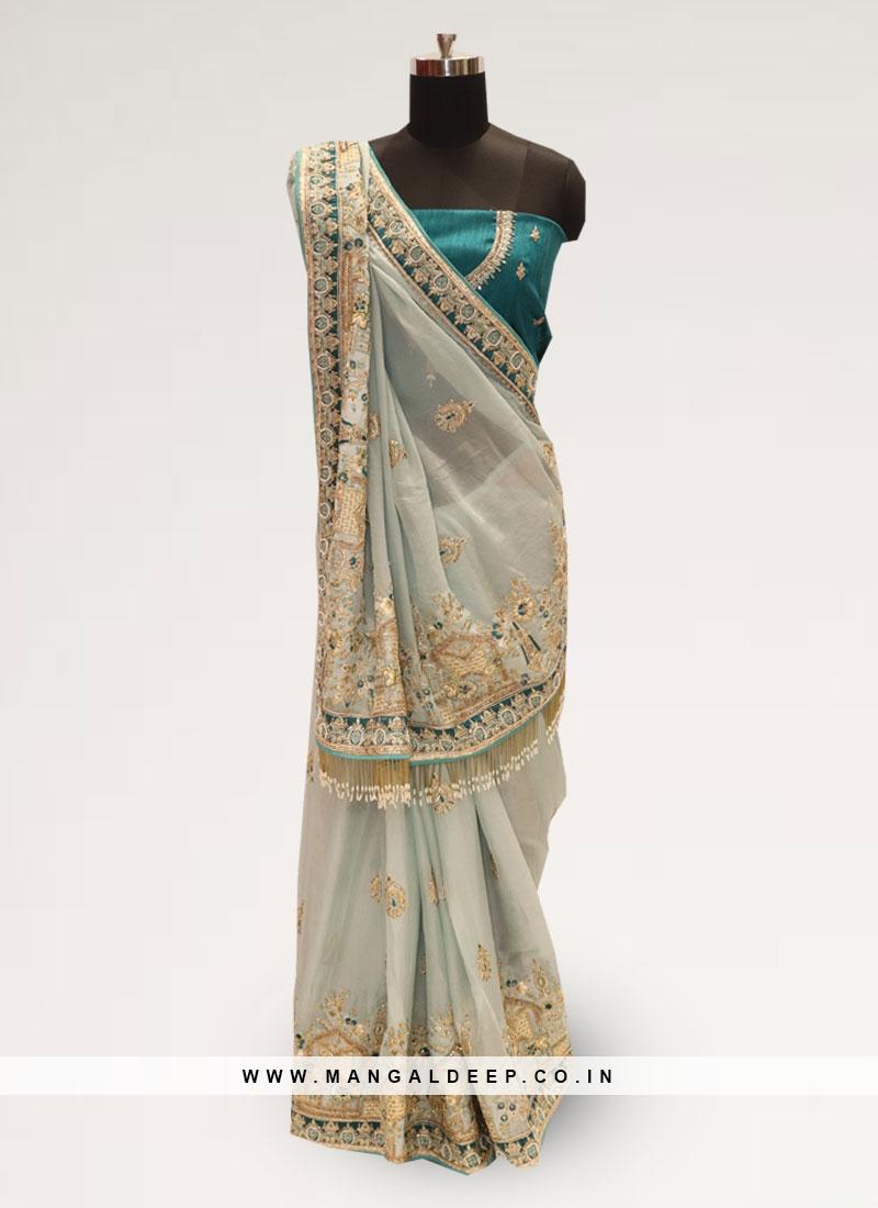 Charming Green Color Festive Wear Designer Saree