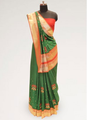 Charming Green Color Festive Wear Designer Saree