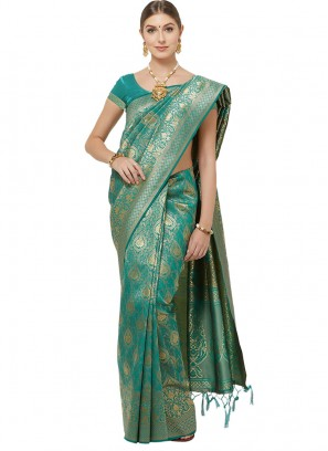 Charming Green Color Function Wear Saree
