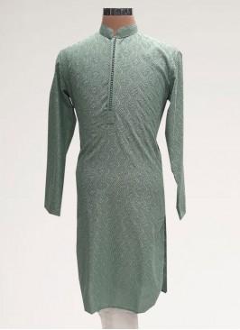 Charming Green Color Sangeet Function Wear Men Kurta Pajama
