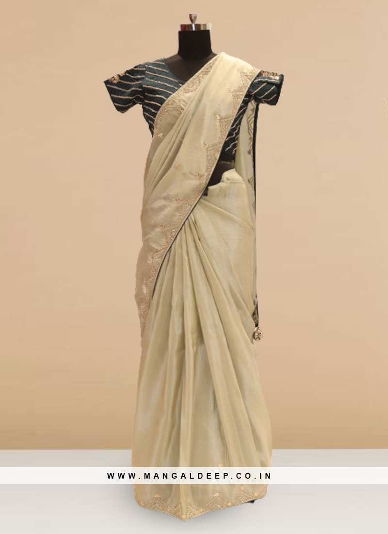 Charming Green Color Sangeet Function Wear Saree