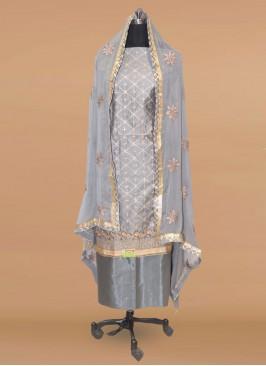 Charming Grey Color Party Wear Designer Salwar Kameez