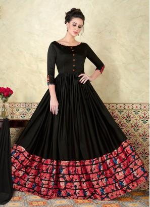 Charming Look Black Floor Touch Anarkali Dress