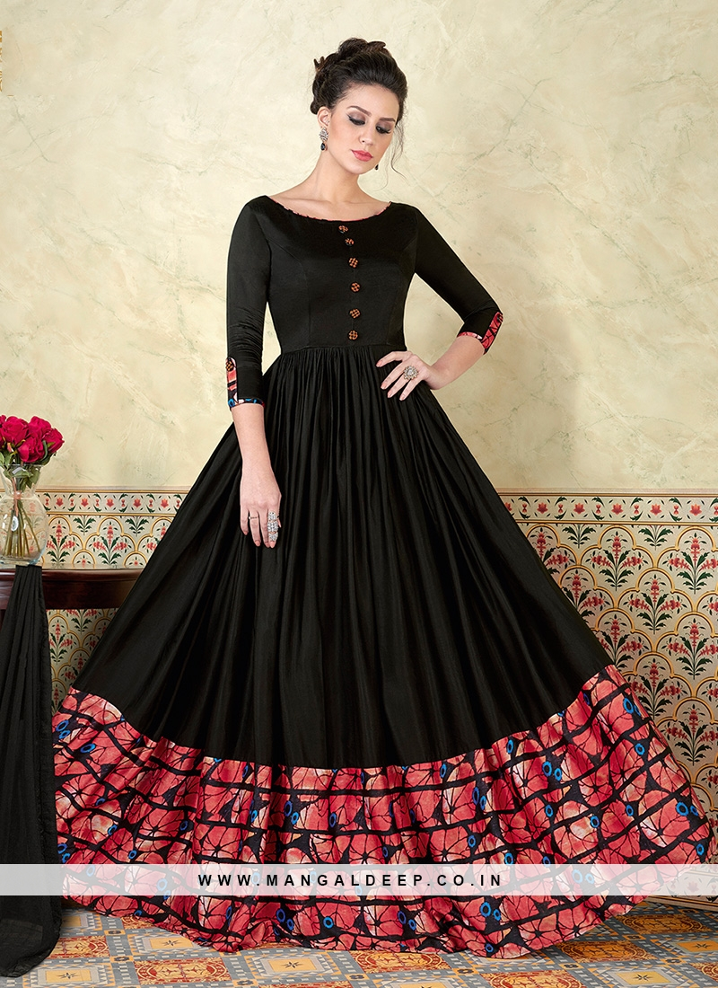 Charming Look Black Floor Touch Anarkali Dress