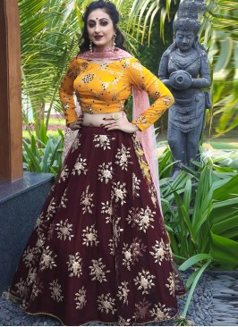 Charming Maroon Color Festive Wear Designer Lehenga Choli