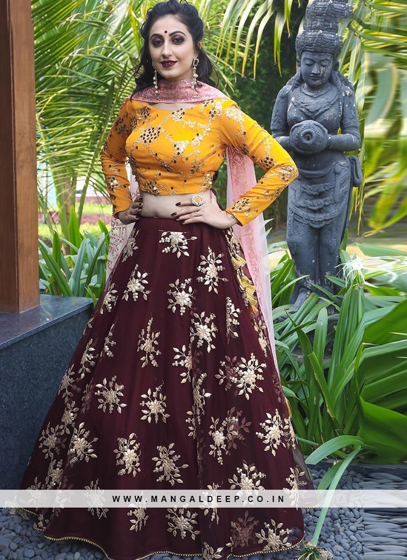 Charming Maroon Color Festive Wear Designer Lehenga Choli