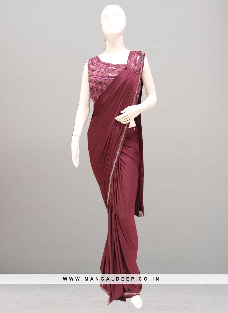 Charming Maroon Color Function Wear Saree