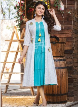 Charming Multi Color Function Wear Rayon Kurti
