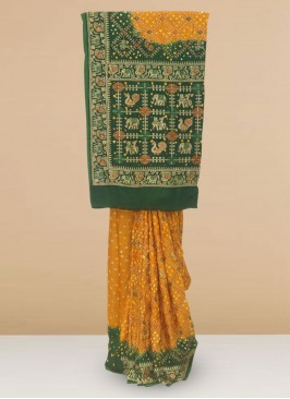 Charming Mustard And Green Color Party Wear Saree In Silk Fabric