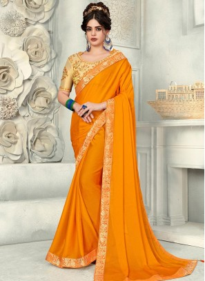 Charming Mustard Color Party Wear Fancy Chiffon Saree
