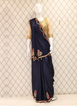 Charming Navy Blue Silk Handwork Saree