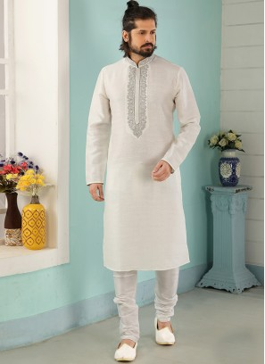 Charming Off White Color Festive Wear Art Silk Kurta Pajama