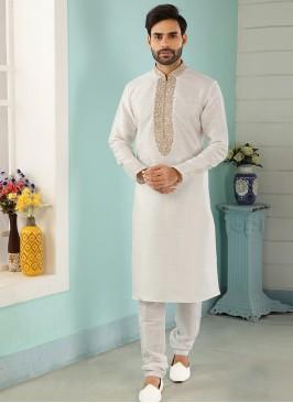 Charming Off White Color Festive Wear Art Silk Kurta Pajama