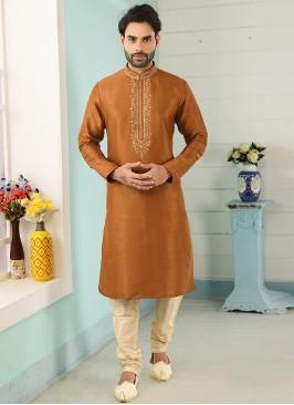 Charming Orange Color Festive Wear Art Silk Kurta Pajama
