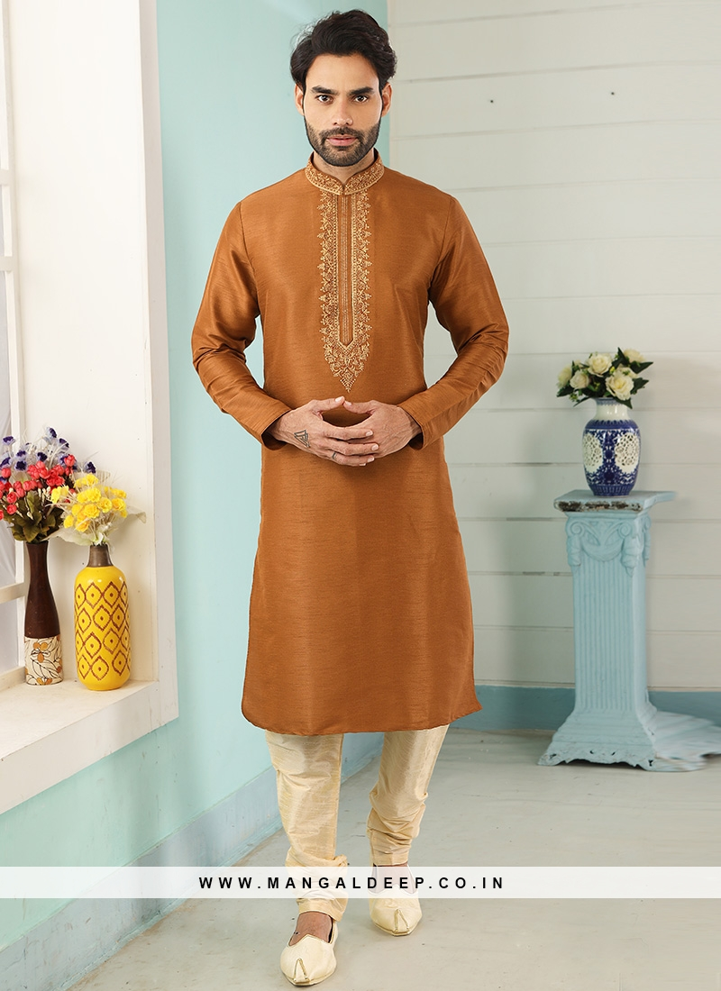 Charming Orange Color Festive Wear Art Silk Kurta Pajama