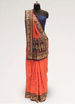 Charming Orange Color Festive Wear Designer Saree