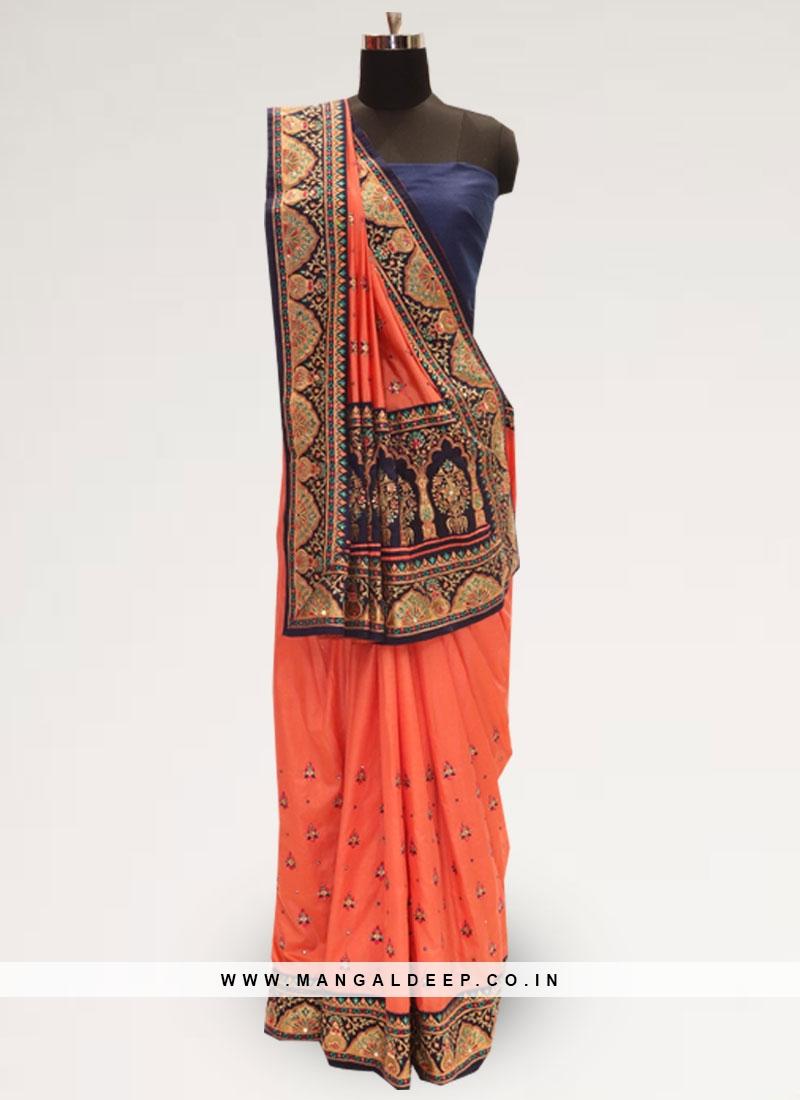 Charming Orange Color Festive Wear Designer Saree