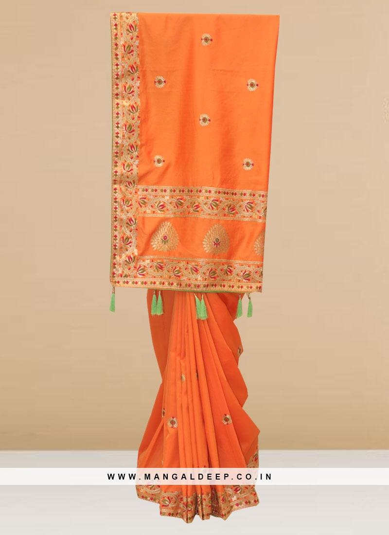 Charming Orange Color Function Wear Designer Saree