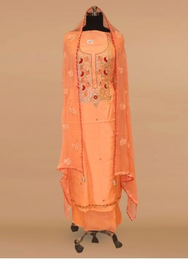 Charming Orange Color Party Wear Designer Salwar Kameez