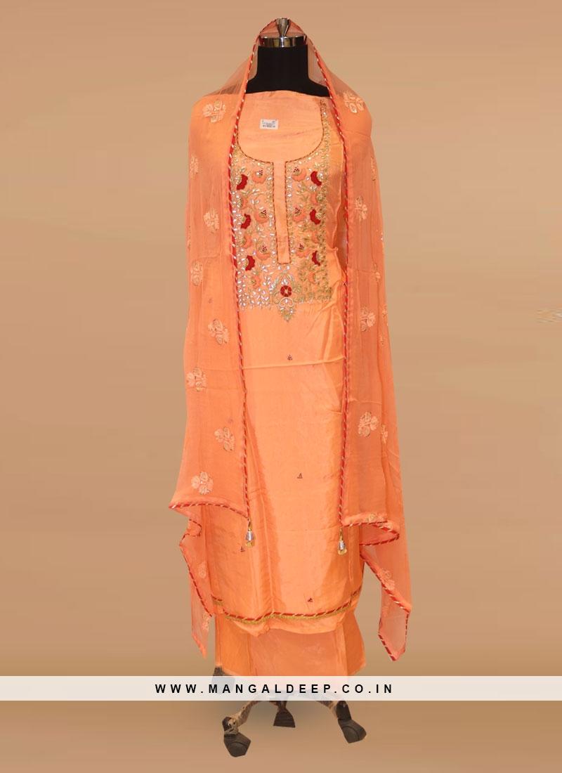 Charming Orange Color Party Wear Designer Salwar Kameez