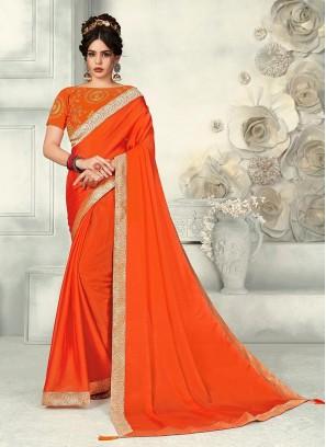 Charming Orange Color Party Wear Fancy Chiffon Saree