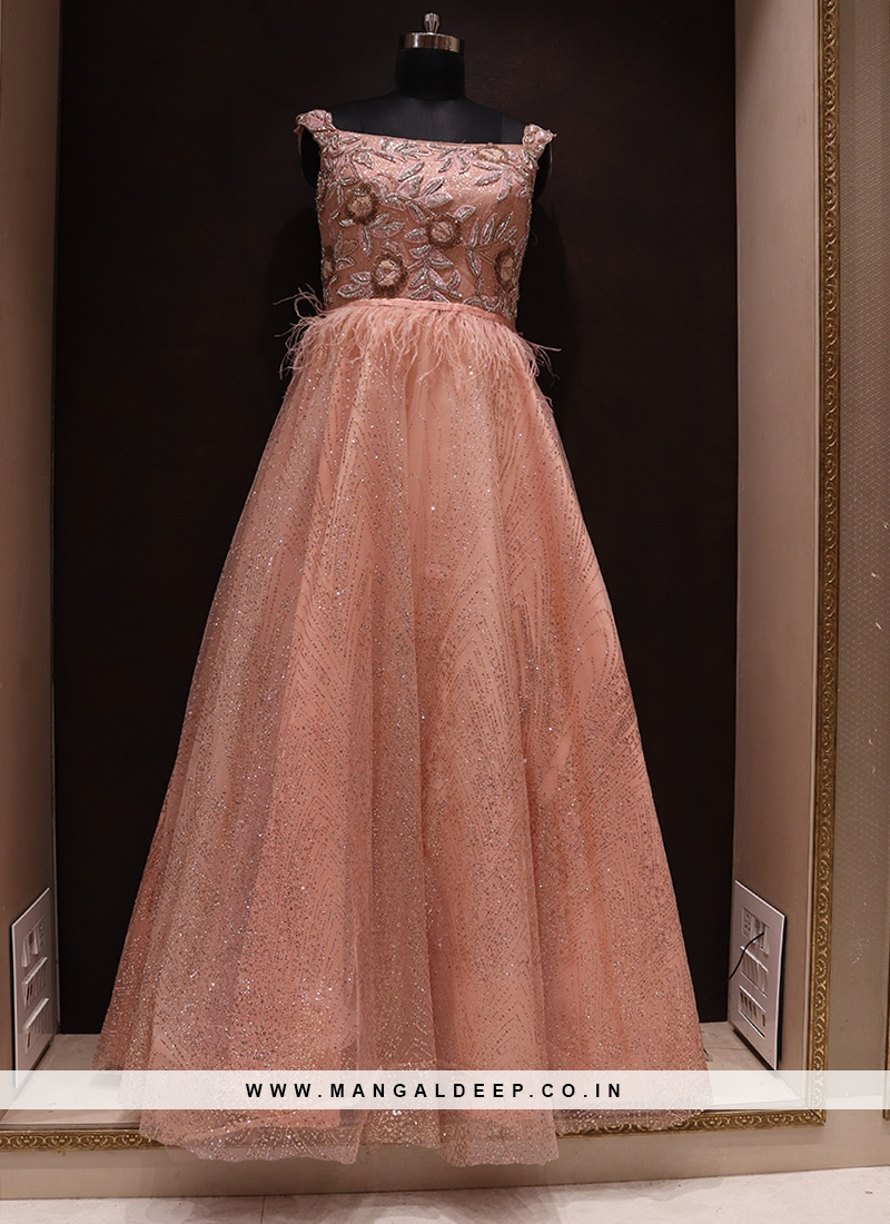 Charming Peach Color Function Wear Net Gown
