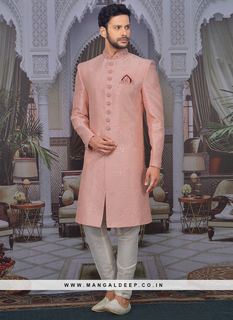 Charming Peach Color Men Sherwani For Wedding