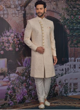 Charming Peach Color Men Sherwani For Wedding