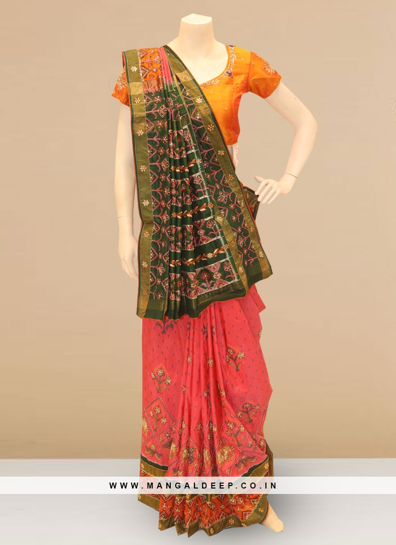 Charming Pink And Green Color Party Wear Embroidered Saree