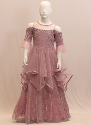 Charming Pink Color Function Wear Embroidered Gown