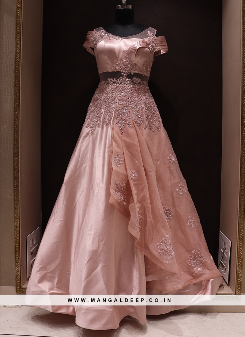Charming Pink Color Function Wear Silk Gown