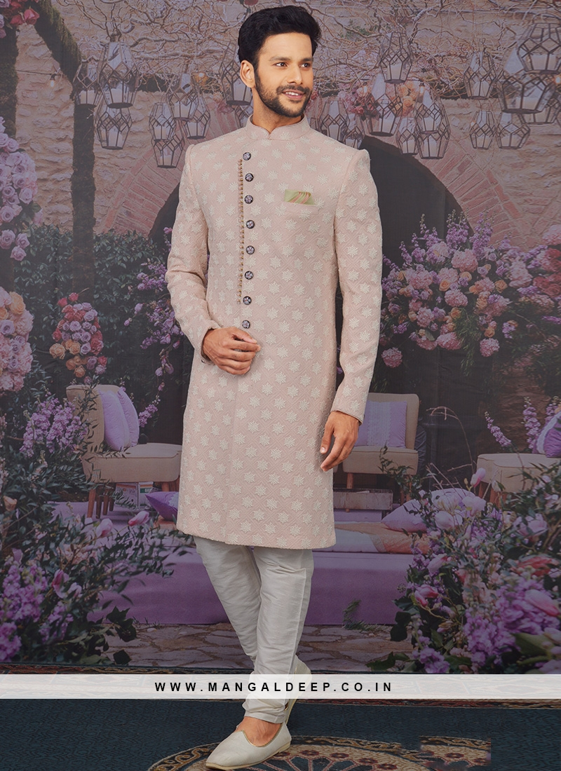 Charming Pink Color Men Sherwani For Wedding