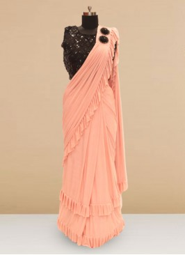 Charming Pink Color Sangeet Function Wear Saree