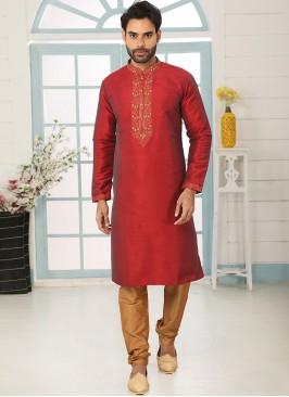 Charming Red Color Festive Wear Art Silk Kurta Pajama
