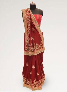 Charming Red Color Festive Wear Designer Saree