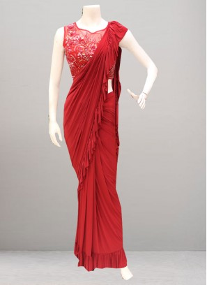 Charming Red Color Function Wear Saree