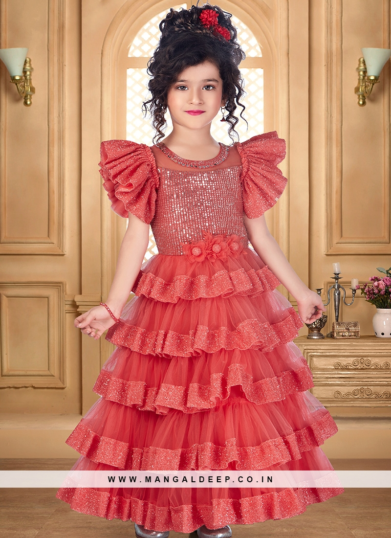 Charming Red Color Party Wear Gown For Kids