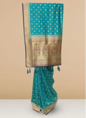 Charming Sky Blue Color Party Wear Saree In Silk Fabric