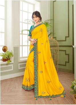 Charming Yellow Color Fancy Saree