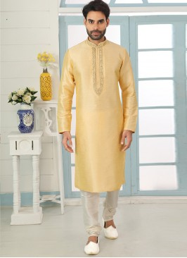 Charming Yellow Color Festive Wear Art Silk Kurta Pajama