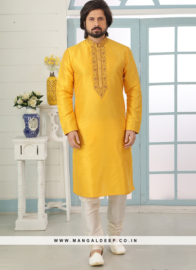 Charming Yellow Color Festive Wear Art Silk Kurta Pajama