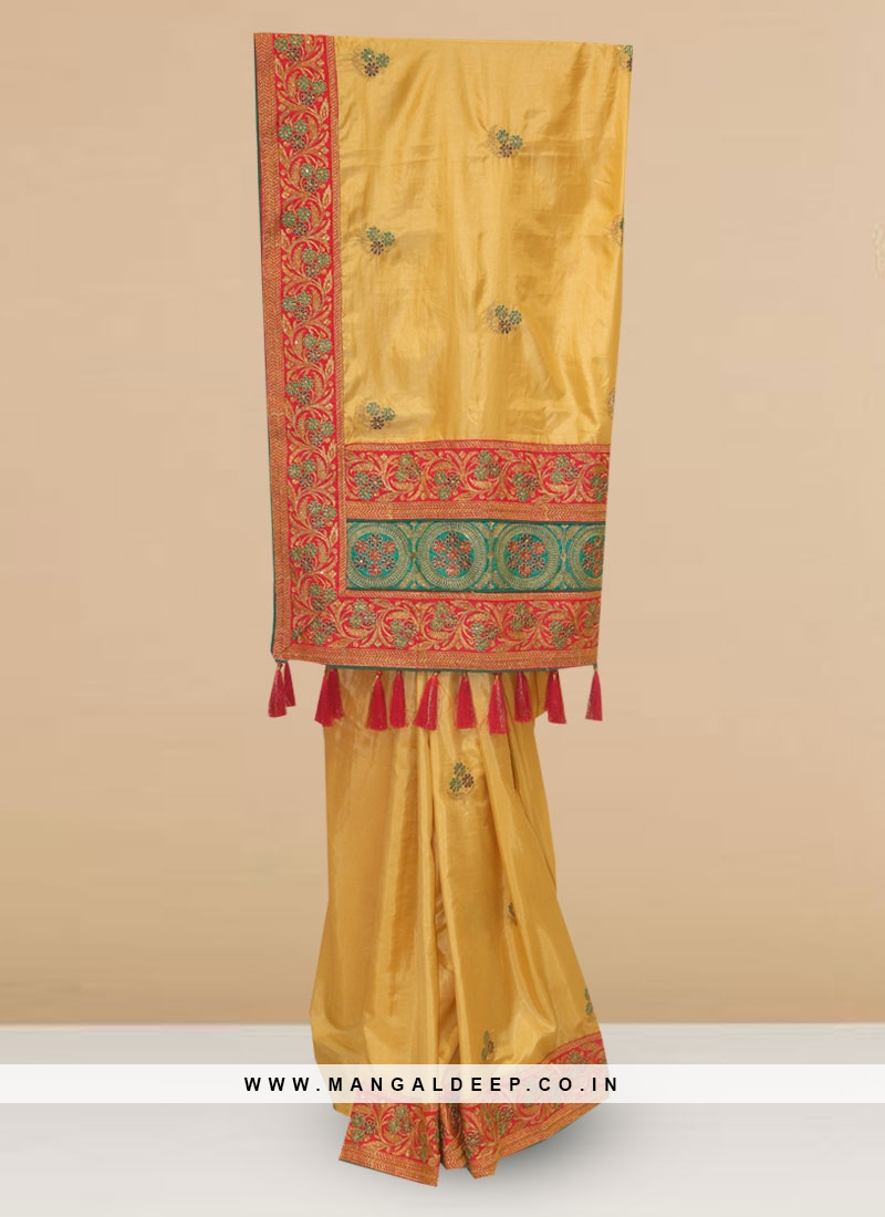 Charming Yellow Color Party Wear Saree In Silk Fabric